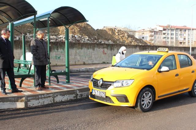 Bartın'da Ticari Taksiler Dezenfekte Ediliyor