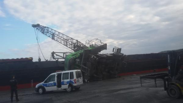 Bartın Limanında yükleme yapan vinç devrildi