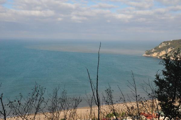 Bartın Irmağı'nın çamurlu su, denizin rengini değiştirdi