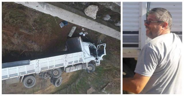 Şarampole uçan kamyonun sürücüsü öldü