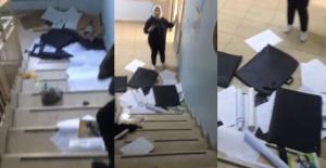 Bartın'da öğrencilerin eşyaları merdiven boşluğuna atıldı
