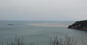 Bartın'da eriyen kar suları Karadeniz'in rengini değiştirdi