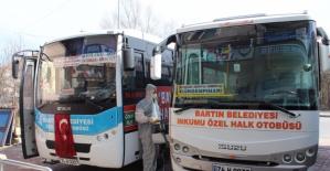Halk otobüsleri koronavirüse karşı dezenfekte ediliyor