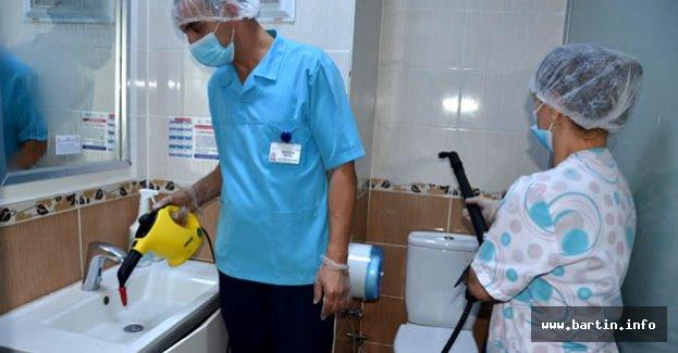 Bartın'da Hastanelerde Buharlı Temizlik