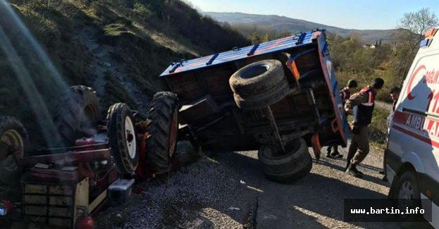 Traktör devrildi, 12 yaşındaki sürücü yaralandı