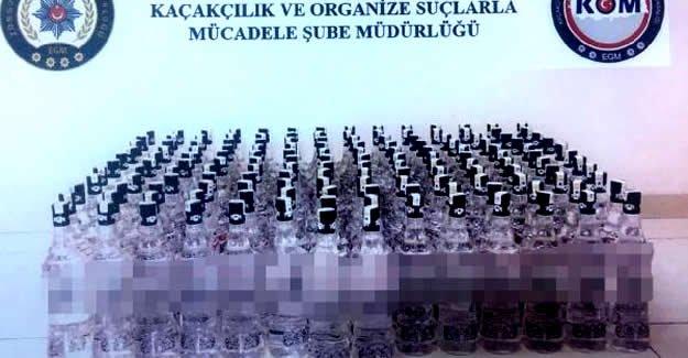 156 şişe kaçak rakı ele geçirildi