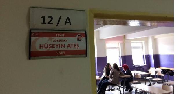 Sınıflara şehitlerin isimleri verildi