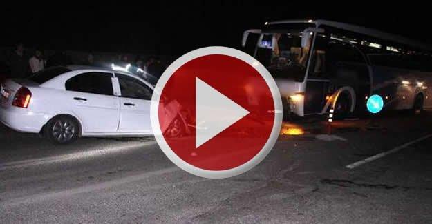 Yolcu otobüsüne çarpan otomobilin sürücüsü öldü