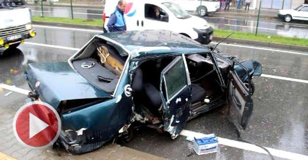 Kaza anı, güvenlik kamerasında