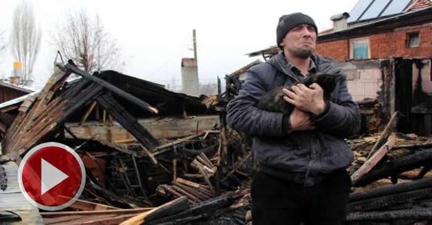 Evleri yandı, Kedilerimiz evsiz kaldı diyerek gözyaşı döktü