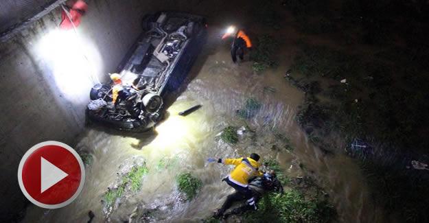 Otomobil dereye uçtu: 1 ölü