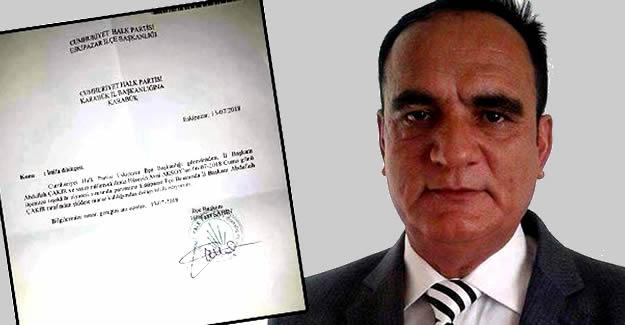 CHP ilçe başkanının 'şiddet' istifası