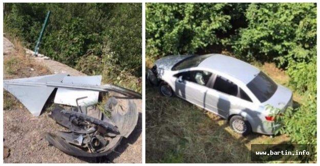 Otomobil bahçeye uçtu: 3 yaralı
