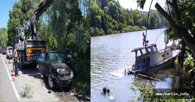 Tekneye Çarpan Otomobil Sulara Gömüldü