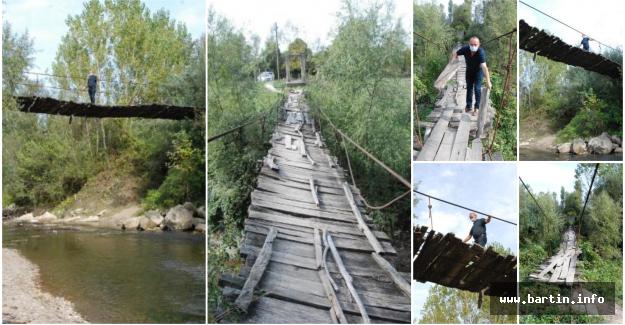 4 Köyün Kullandığı 70 Metrelik Asma Köprü İlgi Bekliyor