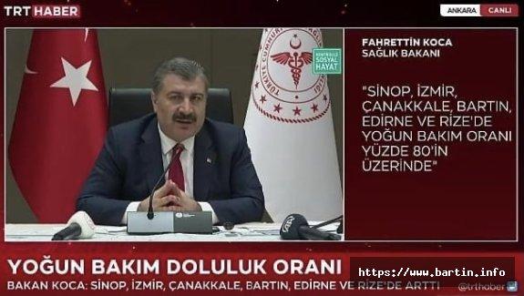 Bakan Açıkladı: Bartın'da Yoğun Bakım Ünitesi Dolmak Üzere