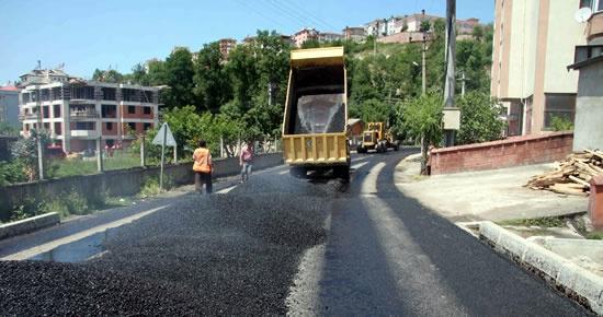 Kavallar'da sıcak asfalt çalışması