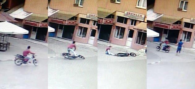 Motosikletten Uçan Sürücünün Burnu Bile Kanamadı