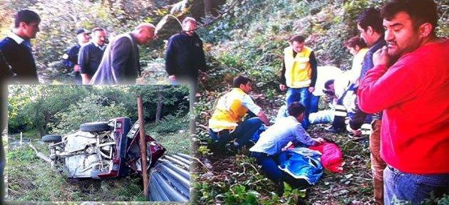 Otomobil 100 metre Uçuruma Yuvarlandı: 5 Yaralı
