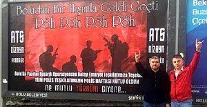 2 teröristi öldüren Polis Özel Harekat'a teşekkür afişi
