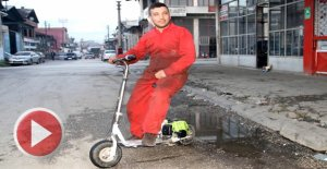 Tırpan motorundan mini motosiklet yaptı