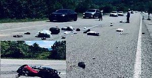 Yola Savrulan Motosiklet Sürücüsü Ağır Yaralandı