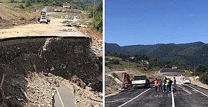 Selde Çöken 200 Metrelik Yol Ulaşıma Açıldı