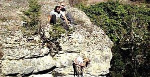 Kanyonda mahsur kalan köpek kurtarıldı