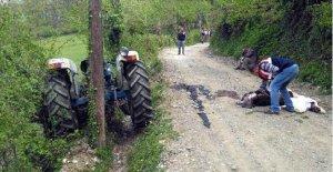 Ağaca çarpan traktörün sürücüsü öldü