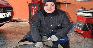 Kadın girişimci, kredi ile oto lastik tamirhanesi açtı
