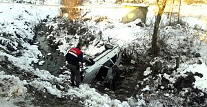 Kozcağız'da araç şarampole yuvarlandı: 2 Yaralı
