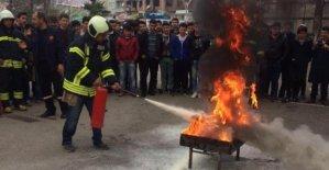 Meslek Lisesinde Yangın Tatbikatı