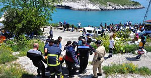 Kayalıklardan düşen kadın öldü