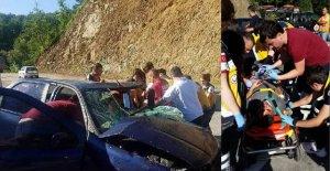 Kamyona Çarpan Araçta 2 kişi yaralandı