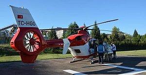 Helikopter ambulans kalp hastası bebek için havalandı