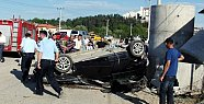Refüje Çarpan Otomobil 2 Takla Attı
