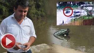 Otomobilin Bartın Irmağı'na düşme anı güvenlik kamerasında