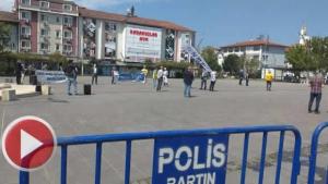 Bartın'da 1 Mayıs açıklamasına sosyal mesafe engeli
