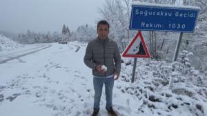 Bartın'da yüksek kesimlere kar yağdı